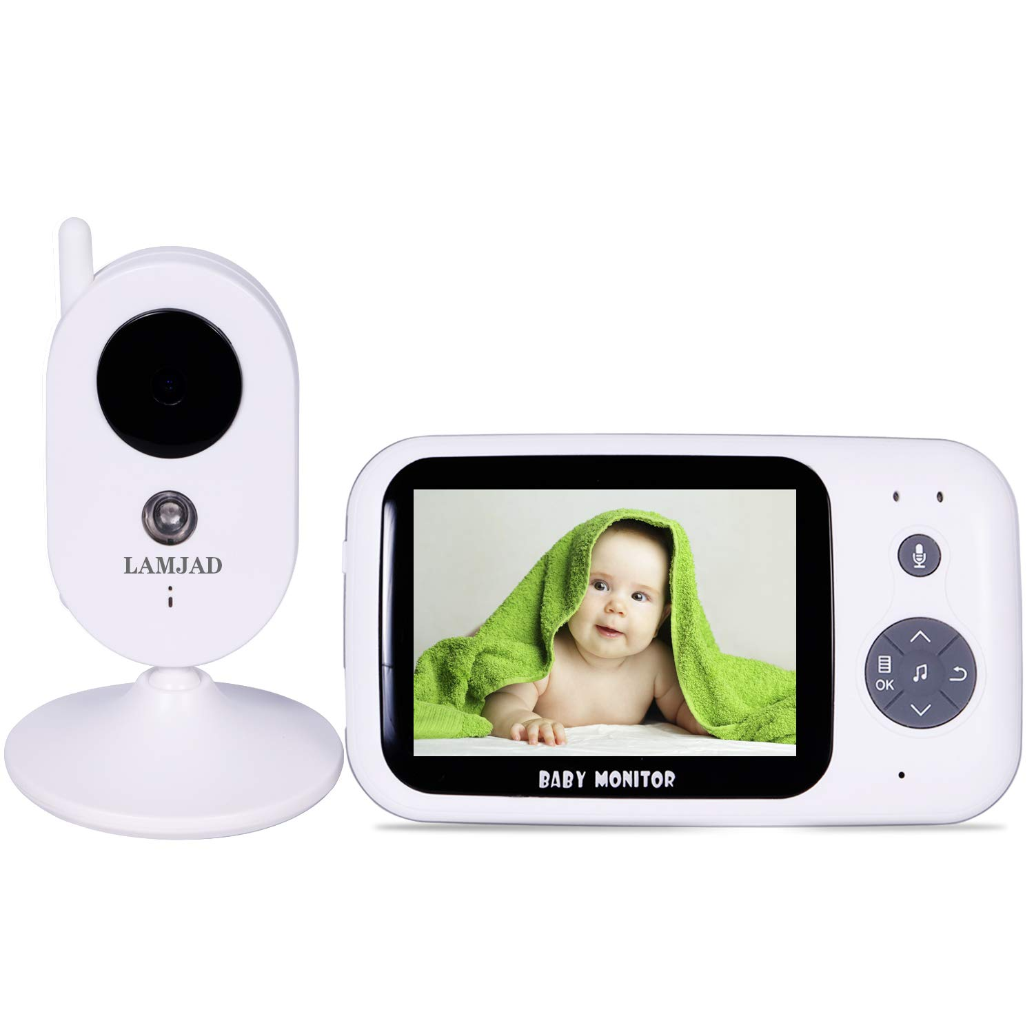 Baby Monitor, LAMJAD 3.2'' Video Baby Monitor with Camera and Audio, Auto Night Vision,Two-Way Talk, Temperature Monitor, VOX Mode, 8 Lullabies, 1000ft Range and Long Battery Life