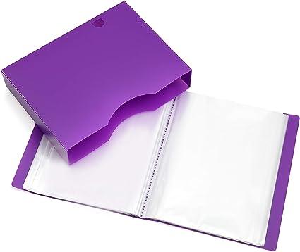 Carpeta de presentación A4 - Carpeta portafolio con fundas de plástico, con 150 fundas y 300 páginas - Carpeta de bolsillo de poliéster por Arpan, púrpura: Amazon.es: Oficina y papelería