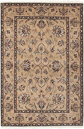 (eCarpet Gallery Area Rug for Living Room, Bedroom | Hand-Knotted Wool Rug | Royal Kashan Bordered Brown Rug 4'0