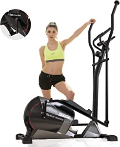 SNODE Magnetic Elliptical Trainer Exercise Machine Heavy Duty 3PC Crank for Stronger Intensity and Durability, Programmable Monitor for Home Fitness Cardio Training Workout