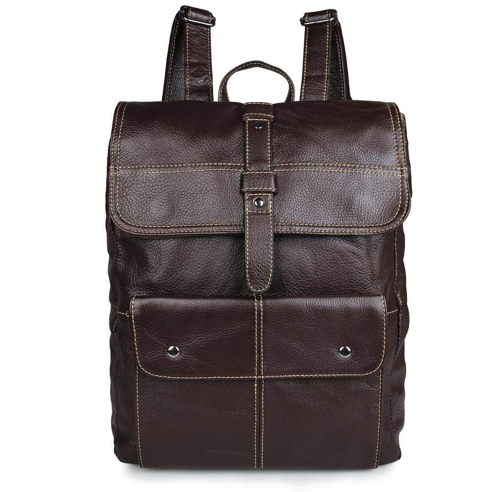 JINGB Mens Leather Two-Shoulder Baotou-Layered Cowhide Backpack Bag Backpack Color : B