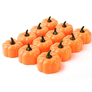 Beichi Set of 12 LED Halloween Pumpkin Lights with Flickering Bulb