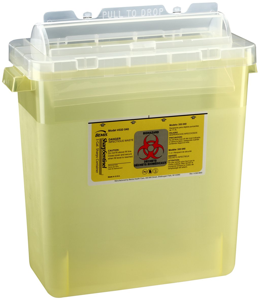 Bemis Healthcare 333040-12 3 gal Sharps Container, Translucent Yellow (Pack of 12)