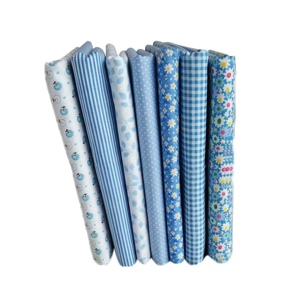 Uzinb Cotone Modello fiore floreale 7pcs serie blu cucito materiale tessile per la biancheria da letto Patchwork fai da te