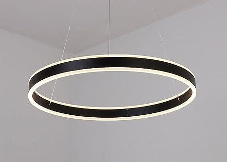 W led rund hängekorb lampe modernes design ring einfach schwarz