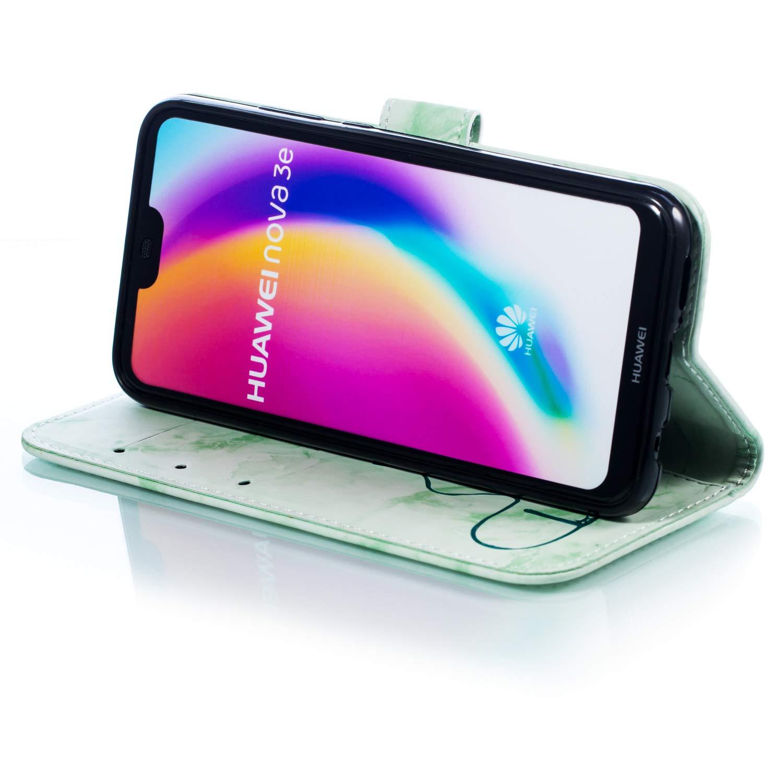 Negro Ukayfe Compatible con Huawei P20 Lite, Duro Libro Cuero PU Billetera Carcasa y Ultra Slim TPU Interno Case con Ranura para Tarjeta//Bumper//Soporte Plegable M/ármol y Forma de Coraz/ón Funda