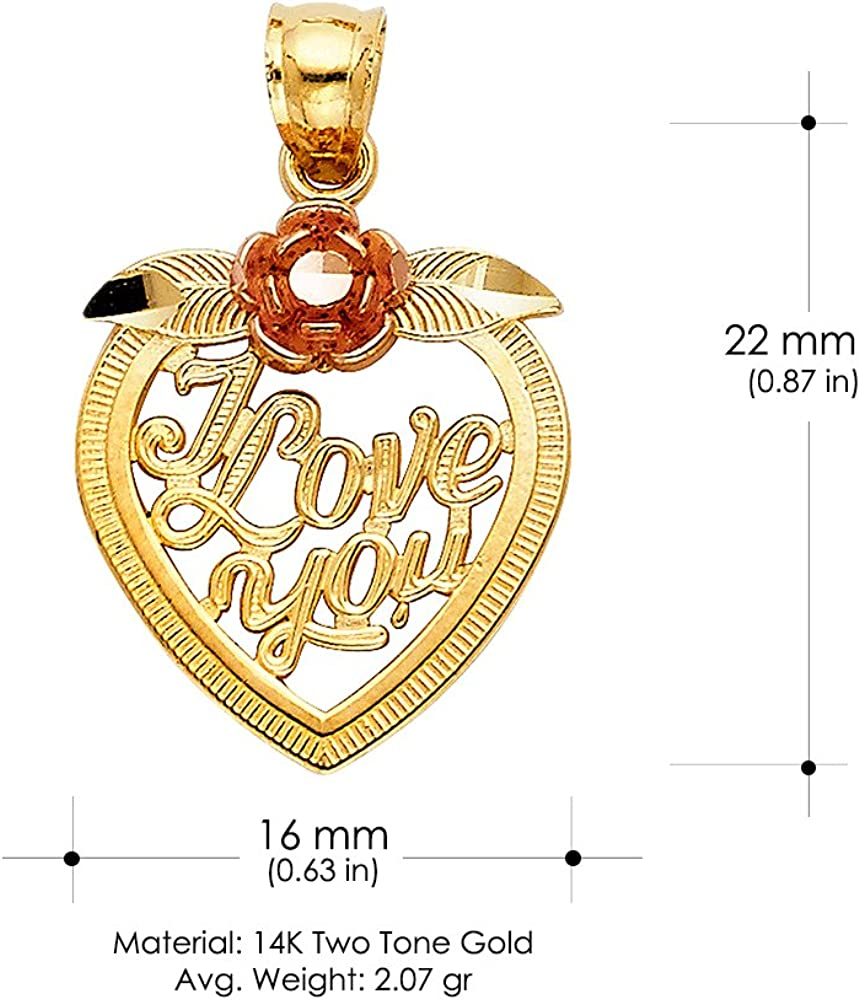 14K Two Tone Gold I Love You Heart with Flower Charm Pendant with 1.2mm Singapore Chain Necklace