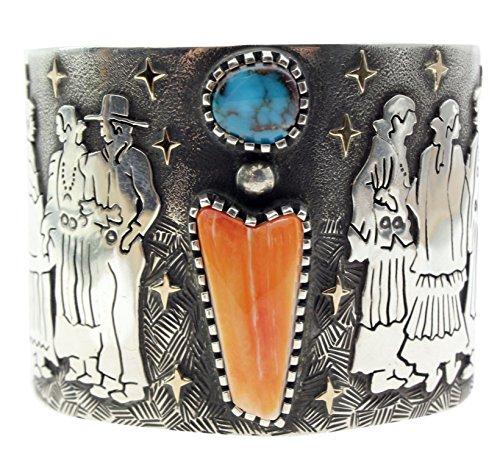 Arland Ben, Bracelet, Squaw Dance, Bisbee Turquoise, 14k, Silver, Navajo, (Bisbee Turquoise Bracelet)