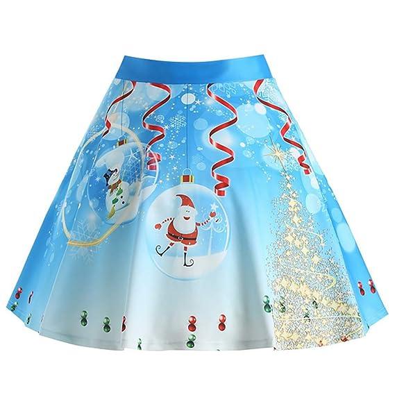 beautyjourney Minifalda con Estampado navideño para Mujer Faldas ...