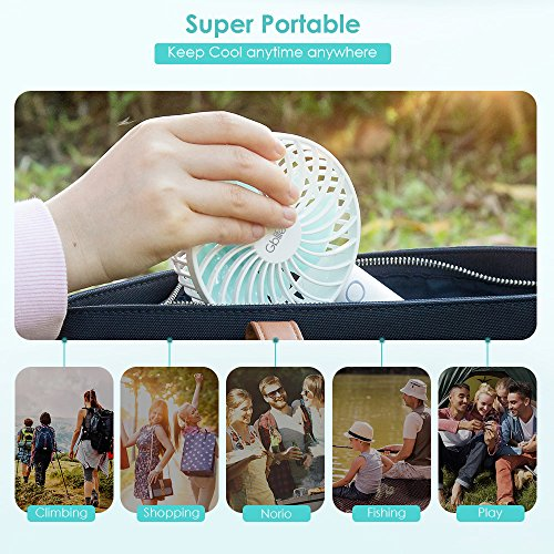 Mini Handheld Fan, Gblife Portable Desk Fan with USB Rechargeable 2600mAh Power Bank,5 Speed Personal Electric Fan with Charging Base for Home Office Travel Outdoors (White) by GBlife (Image #3)