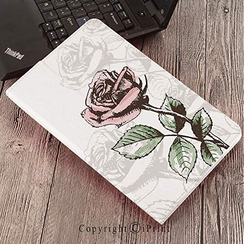 Case for Samsung Galaxy Tab S3 9.7 T820 T825 Slim Folding Stand Cover PU Case, Rose,Victorian Antique Design Sketchy Stem with Blossom and Faded Flourish Decorative,Pale Green Pale Pink Brown