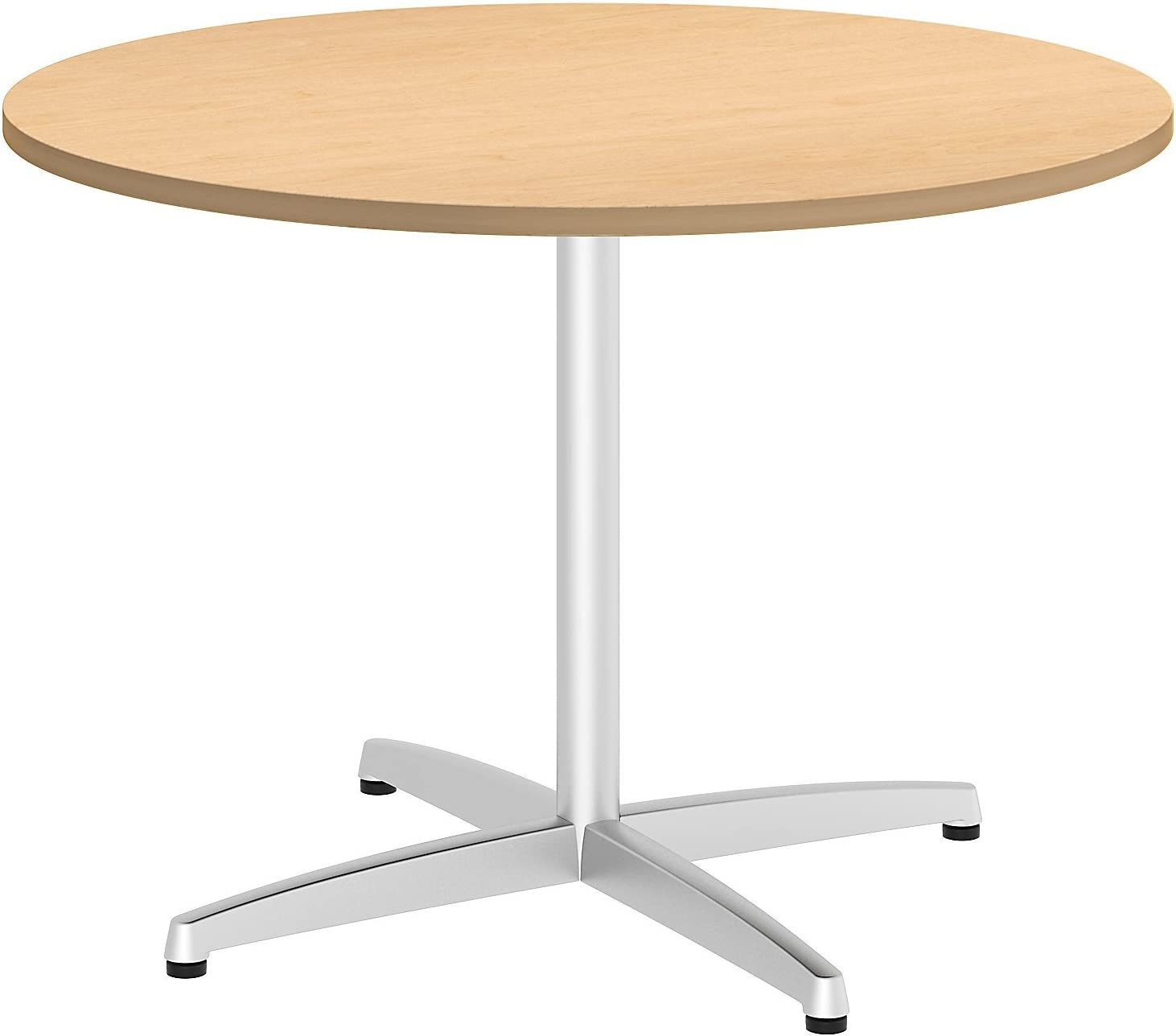 Bush Business Furniture 42W Round Conference Table with Metal X Base in Natural Maple