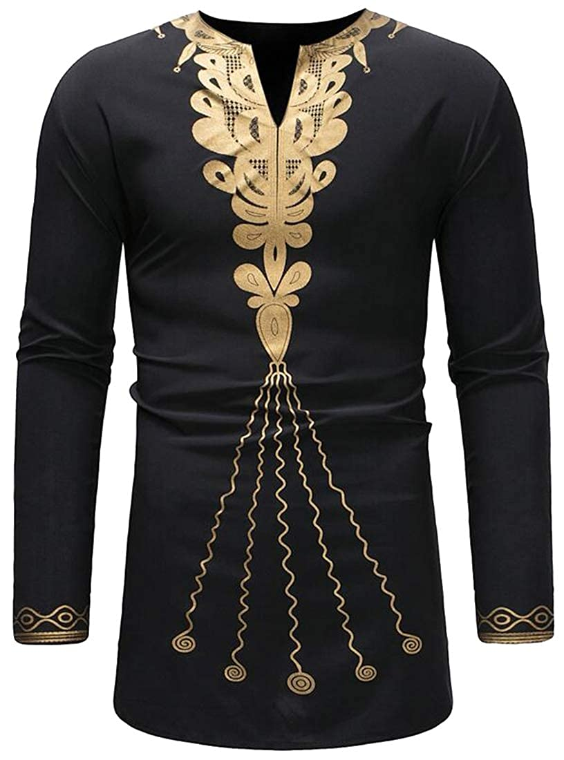 Fubotevic Mens Casual Trendy African Print Long Sleeve Longline V-Neck Shirt Tops Tee