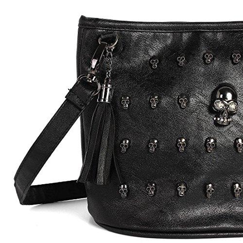 Minetom Épaule Studs Fille Mode Femme Mode Bandoulière Noir Crâne Noir À Punk Réglable Sac Tote Cool Goth Sac Messenger 1A1rw