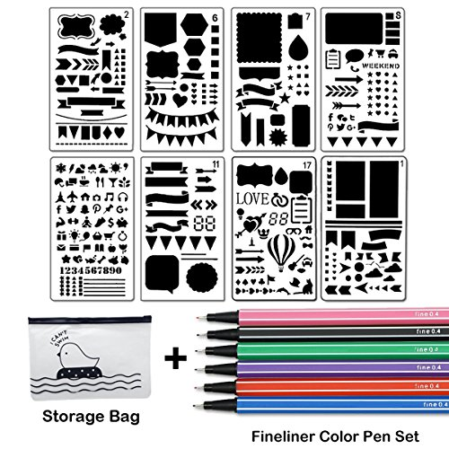 Bullet Journal Stencil Set 8 Pieces Plastic Planner Stencil Template 4x7 Inch for Journaling Notebook Scrapbook Christmas Gift Card and Art Projects with Fineliner Color Pen Set, Sirensky (4 Color Set Bullet)