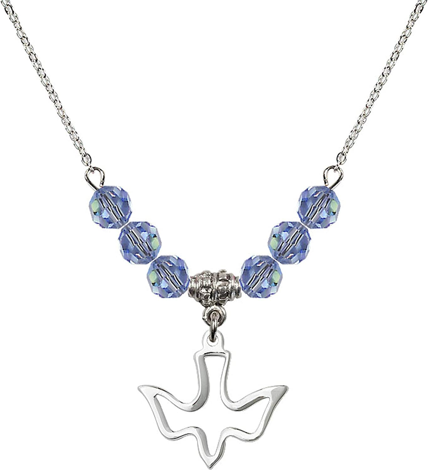 Bonyak Jewelry 18 Inch Rhodium Plated Necklace w// 6mm Light Blue September Birth Month Stone Beads and Holy Spirit Charm