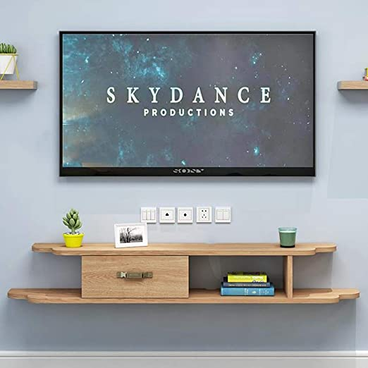 Amazon Com Wall Shelf Floating Shelf Wall Mounted Tv Cabinet With Drawer Set Top Box Router Dvd Player Projector Storage Shelf Tv Stand Color A Size 120cm Kitchen Dining