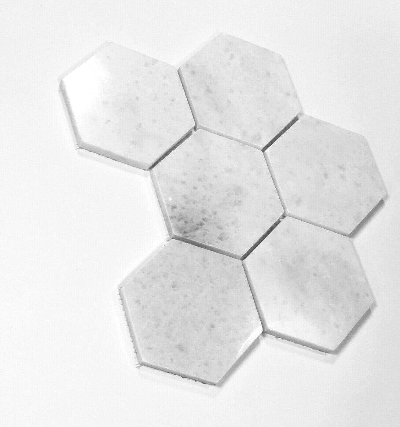 Carrara White 4 Hexagon Marble Mosaic Wall Floor Tile Backsplash Bath Kitchen