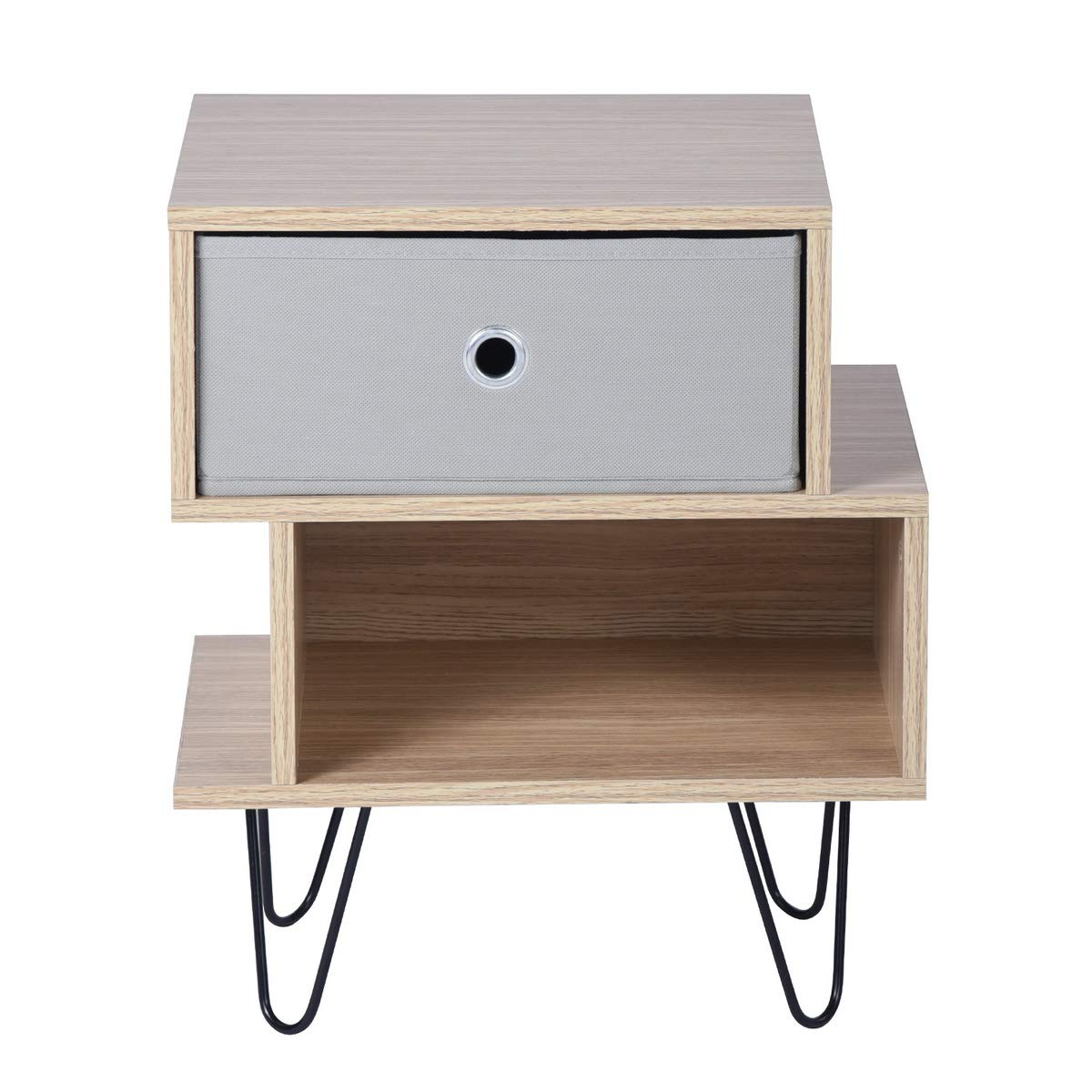 Aingoo Beside Table Nightstand Cabinet with 1 Fabric Drawer End Side Sofa Table Storage Units with Steel Legs for Bedroom Living Room Oak