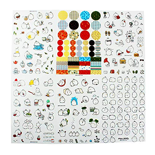 Qingsun 6 Sheets Cute Bunny Rabbit Charactor Sticker Cartoon Diary Book Decorative Sticker for Kids DIY Crafts Diary Album Decoration
