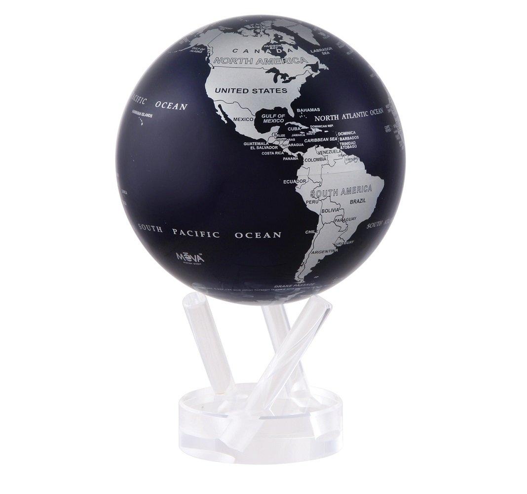 4.5'' Rotating MOVA Globe - Silver Metallic and Blue Earth