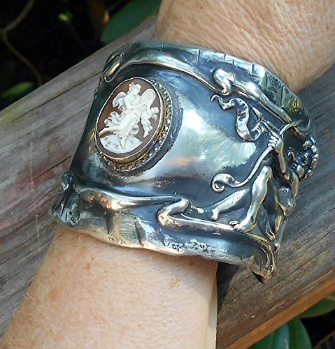 Antique Cameo Cherub Wide Silver Plate Cuff, Cameo of Muse w/ Cherub Both Playing Zither, Cherubs Playing Horns, Shooting Love Arrow. OOAK (Marcasite Cuff)