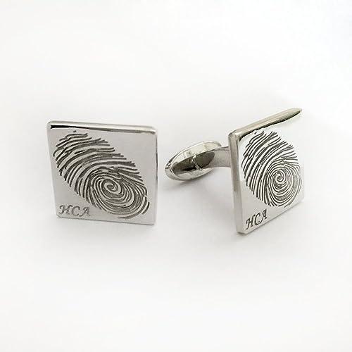 Fingerprint CuffLinks Cuff Links for Men Personalized in Sterling Silver