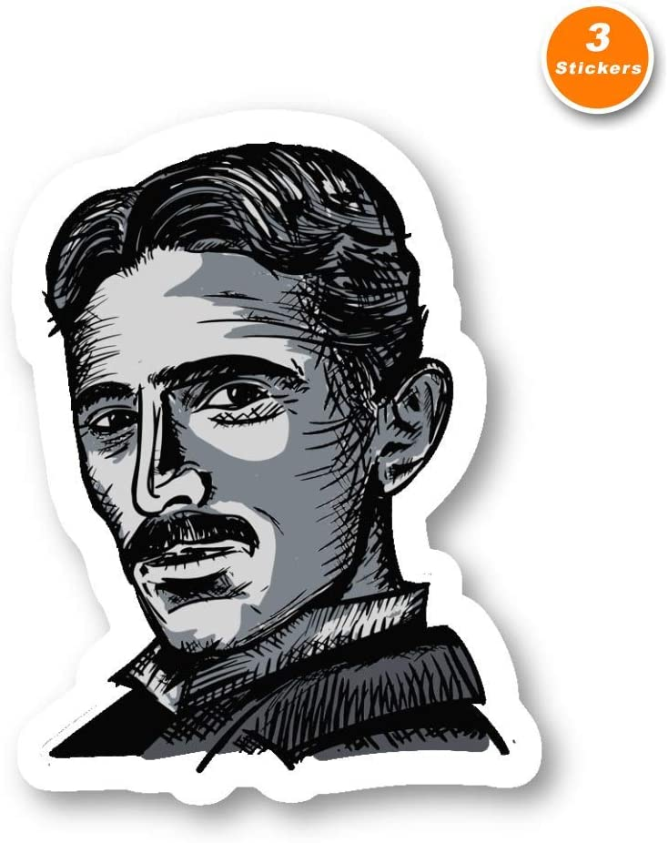 Nikola Tesla Sticker Historical Figures Stickers - 3 Pack - Set of 2.5, 3 and 4 Inch Laptop Stickers - for Laptop, Phone, Water Bottle (3 Pack) S214521