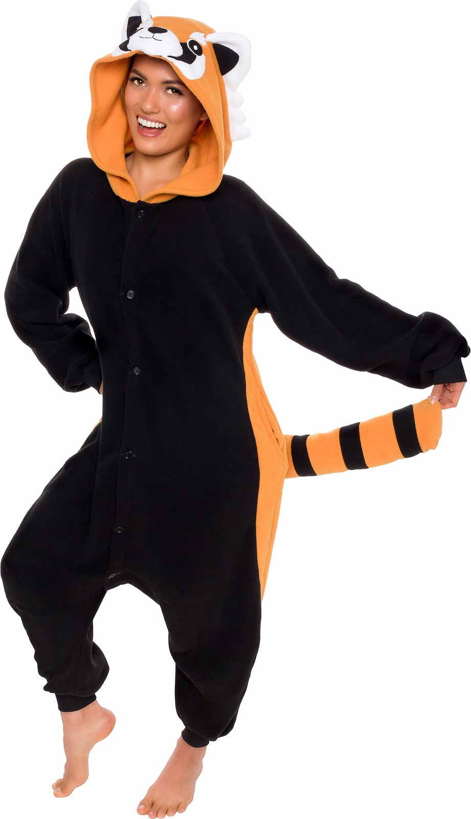 Silver Lilly Unisex Adult Pajamas - Plush One Piece Cosplay Red Panda Animal Costume (Black/Orange, X-Large)