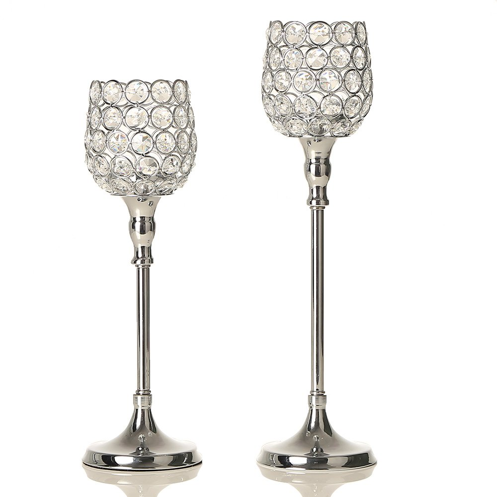 VINCIGANT Silver Crystal Candlestick Holders Set for Holiday Mantle Decor Wedding Table Centerpieces Candelabra,Gift for Anniversary Celebration
