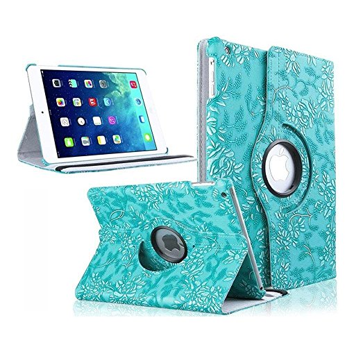 iPad 4 Case, TabPow [360 Degrees][Flip][Smart Case] Grapevine Turquoise PU Leather Flip Case [Magnetic Closure] Smart Cover With Stand [Auto Sleep/Wake] For Apple iPad 2/3/4 (Grapevine Pedestal)