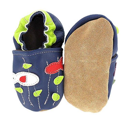 HOBEA-Germany Krabbelschuhe Fische - Pantuflas para bebés Azul (blau)