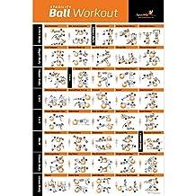 Póster laminado de ejercicios con pelota, entrenamiento total de cuerpo, programa de entrenador personal, póster para el hogar o gimnasio para estabilidad, balance, yoga. Tonifique sus abdominales, piernas, glúteos y parte superior del cuerpo, 20x30 pulgadas