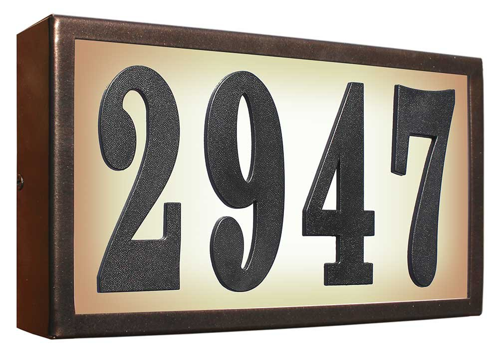 Qualarc SRST-AB60-BRZ Serrano Low Voltage Rust Free Galvanized Steel Rectangular Lighted Address Plaque with 4'' Polymer Numbers, Bronze