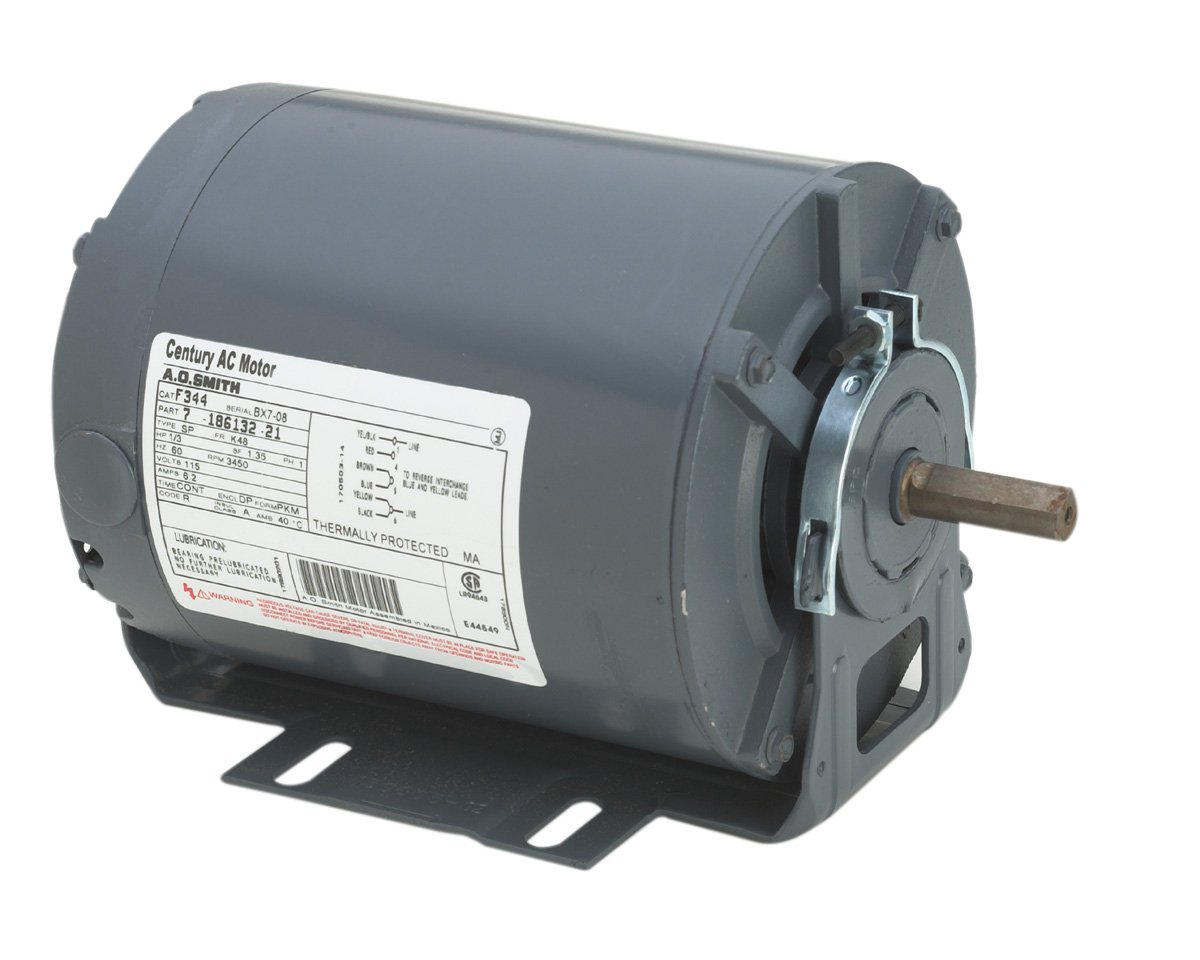 A.O. Smith GF2014 1/6 hp, 1725 RPM, 115 volts, 48/56 Frame, ODP, Sleeve Bearing Belt Drive Blower Motor