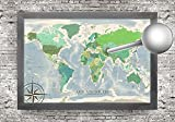 The Livingston World Map - A beautiful design in greens colors. Use as a wall or push pin map. Designed by a professional Cartographer/Geographer.