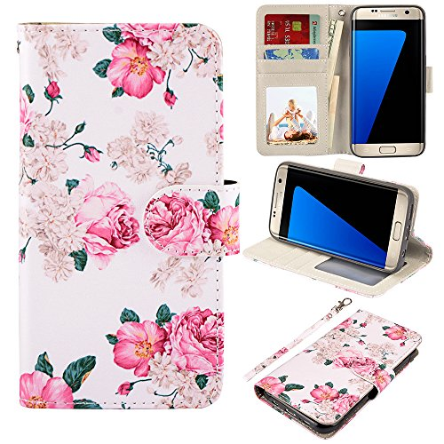 UrSpeedtekLive S7 Edge Case, Galaxy S7 Edge Wallet Case, Premium PU Leather Wristlet Flip Case Cover with Card Slots & Stand for Samsung Galaxy S7 Edge,Flower 2 ()