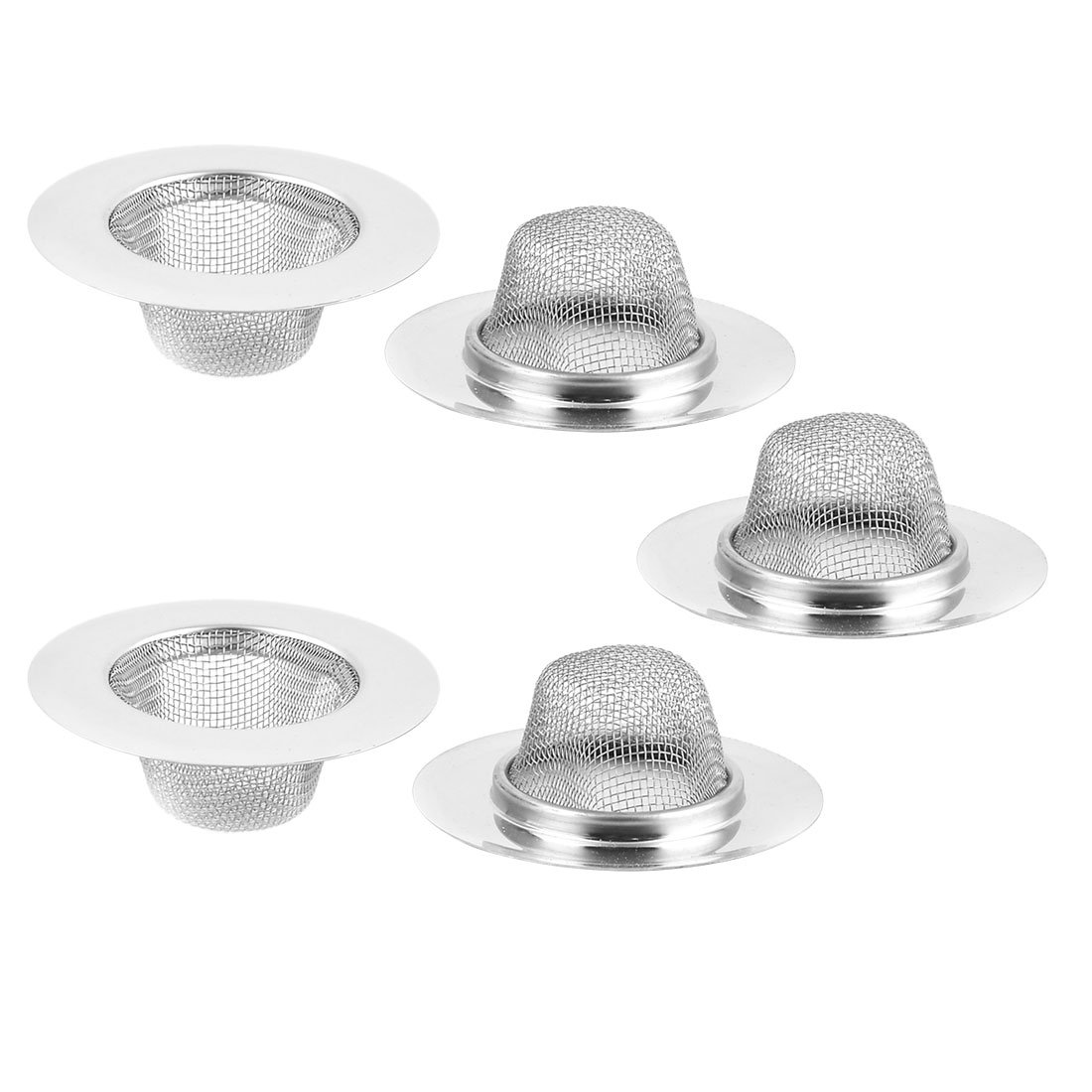 uxcell Stainless Steel Flat Round Shaped Sink Leftover Stopper Strainer Filter 5pcs