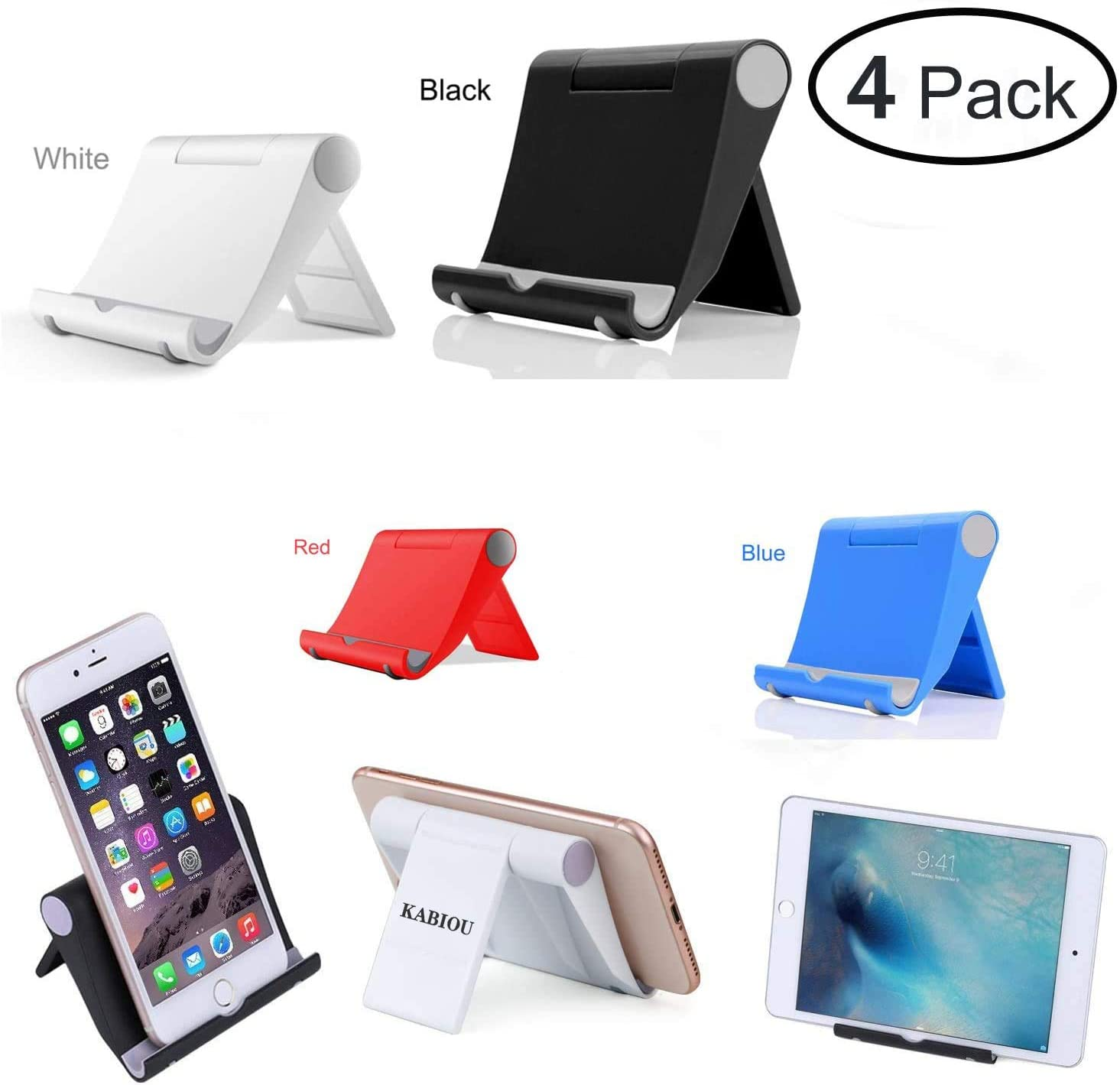 "KABIOU 4 Pack Cell Phone Stand Adjustable Holder for Desk,Tablet Stand Universal Smartphones for Holder Tablets(4-11""),Compatible with iPhone11/11Pro Max/X/XS/XR/7/8Plus,Galaxy S8/S7Note8,iPad,Mini: Home Audio & Theater"