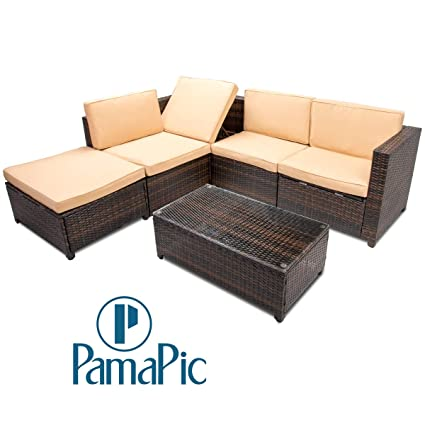 Excellent Pamapic 6Pcs Outdoor Patio Furniture Set Adjustable Reclining And Storage Function Pe Rattan Wicker Outdoor Sectional Sofa With Cushioned Seat And Home Interior And Landscaping Ponolsignezvosmurscom