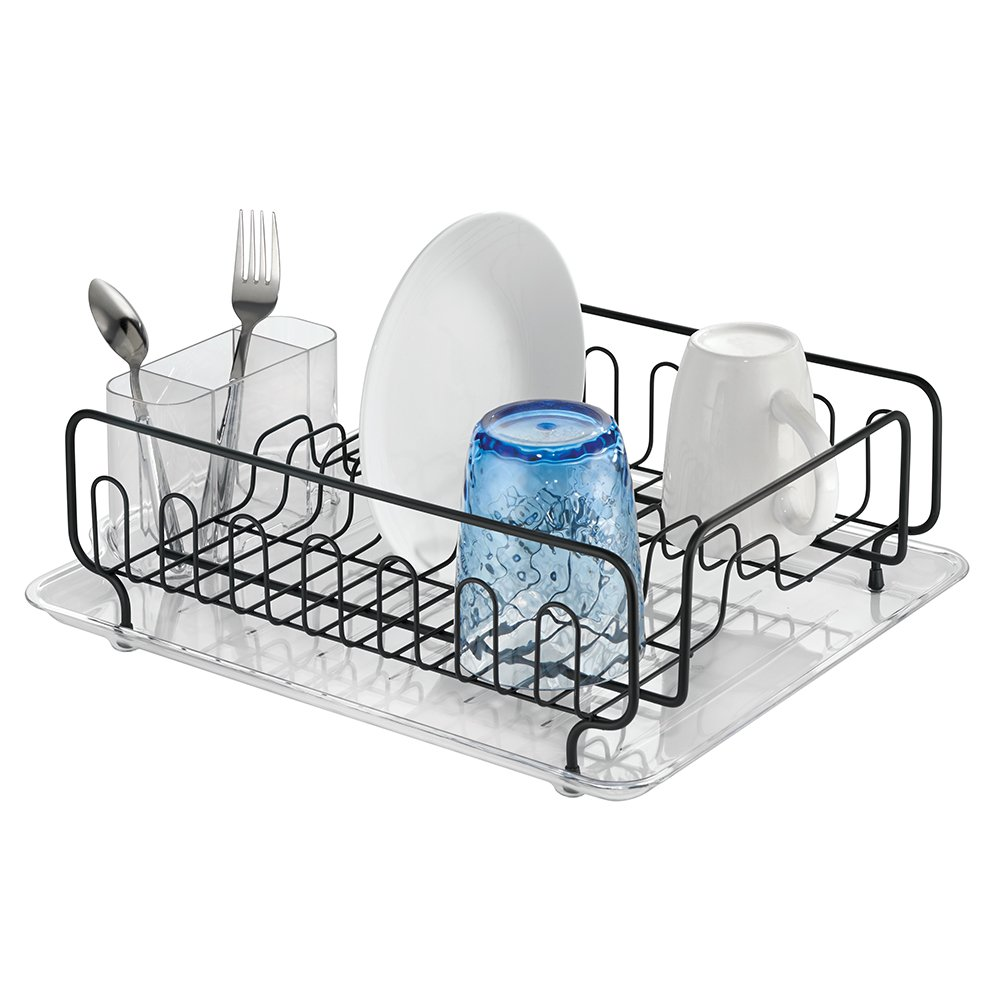 mDesign Large Modern Metal Wire Kitchen Dish Drainer Drying Rack with Removable Plastic Cutlery Caddy and Drainboard for Sink or Countertop - Clear/Matte Black