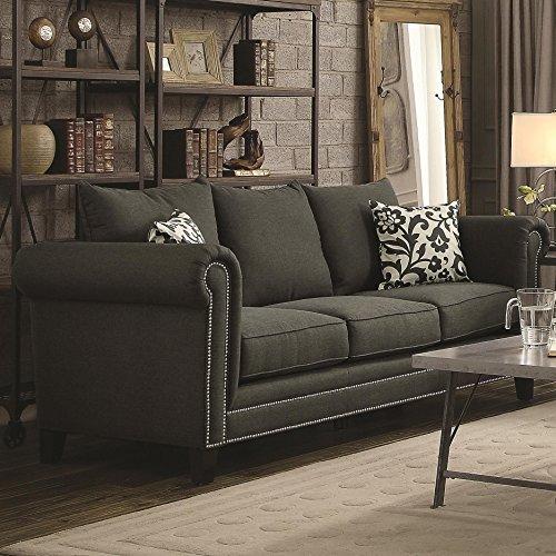 Coaster 504911 Home Furnishings Sofa, Charcoal
