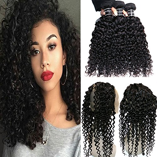 BQ HAIR Deep Curly 360 Frontal with Bundles 8A 100% Unprocessed Virgin Brazilian Human Hair -3 Bundles with 360 Lace Frontal Closure Pre Plucked (18''20''22''&16'') by BQ HAIR (Image #9)