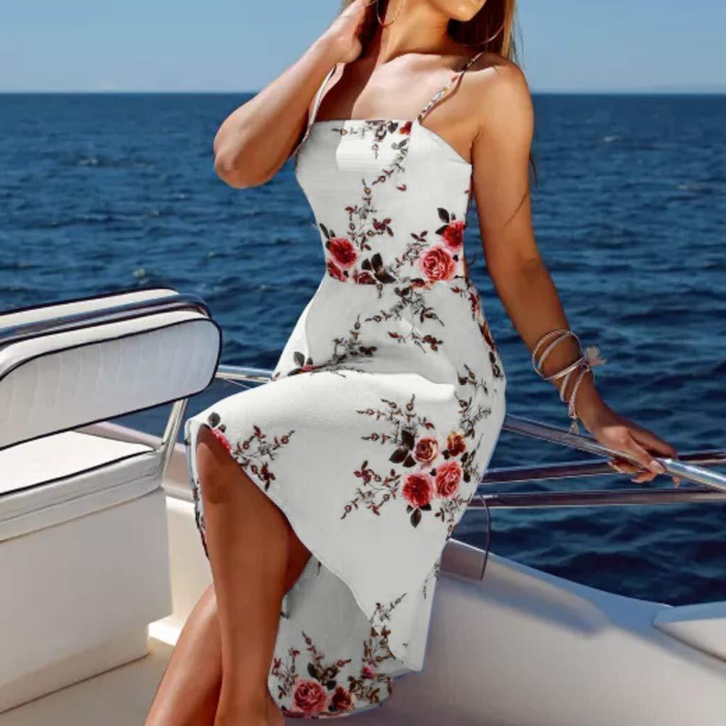 kemilove New Boho Women Strappy Floral Print Ladies Beach Swing Irregular Tuxed Dress