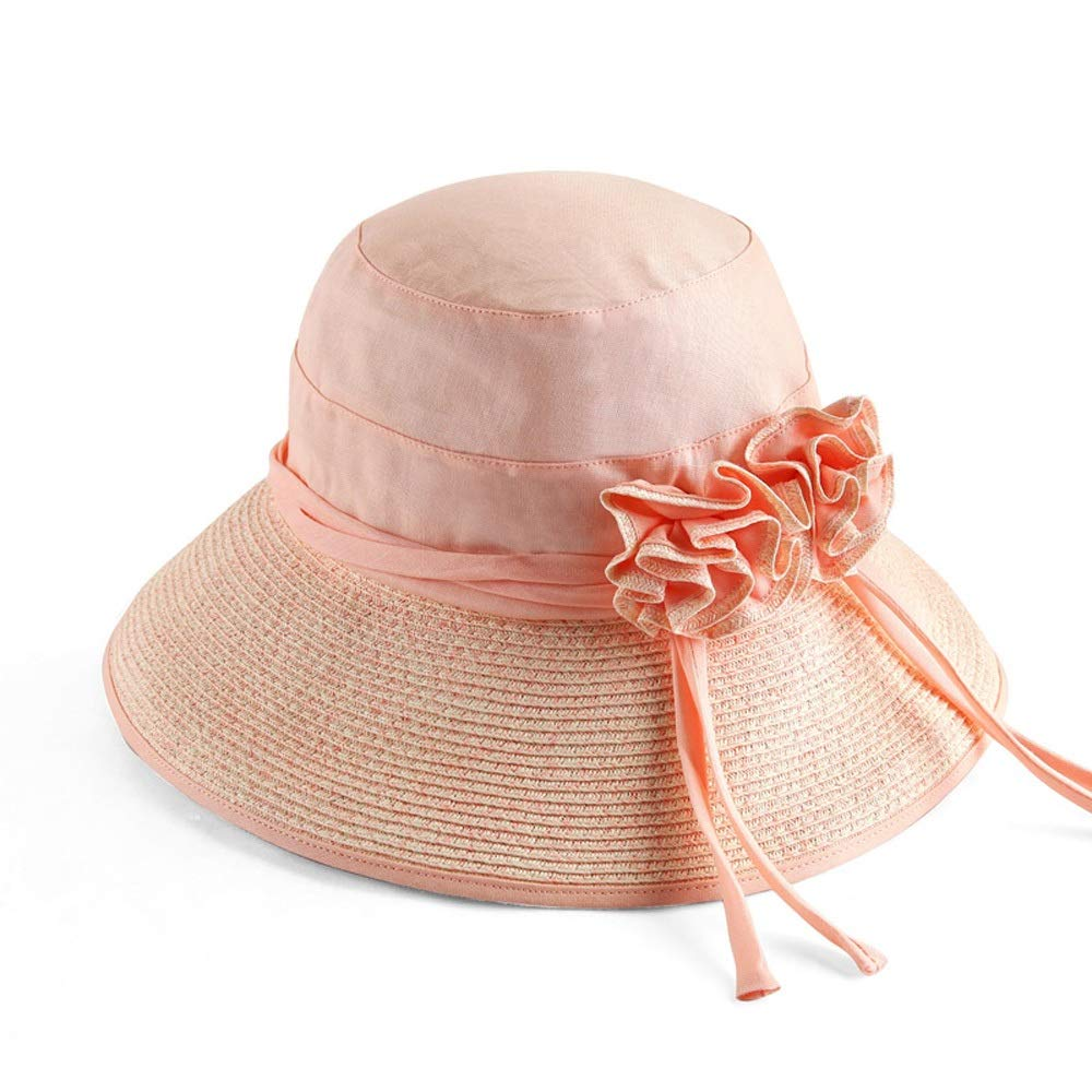 1 Hat  Women's Summer Sun Visor Foldable UV Sun Hat Outdoor Travel Wide Beach Hat Rattan Straw Hat (3 colors) (color    2)