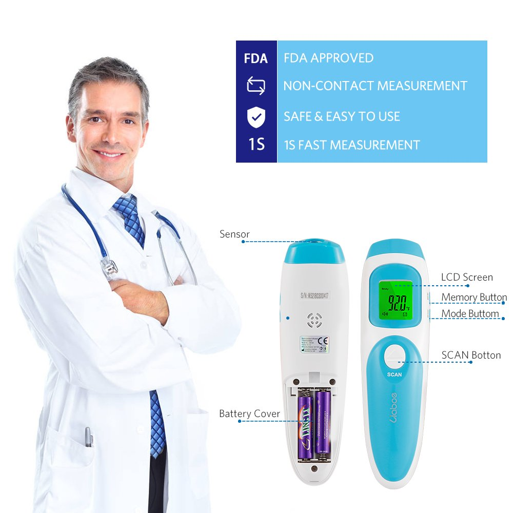 Liaboe Non Contact Infrared Forehead Thermometer, 3 in 1 Body/Surface/Room Temperature Reading Device, LCD Three Color Over Temperature Alarm Display Baby Adults Thermometer, FDA Approved by Liaboe (Image #6)