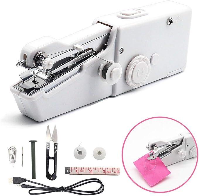 Máquina de coser de mano Jacriah Mini máquina de coser eléctrica de mano no sólo para niños principiantes de punto ...