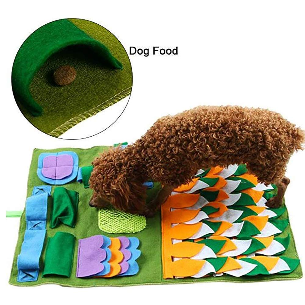 FXQIN Dog Feeding Mat Snuffle Mat for Small Large Dogs,Nosework Blanket Pet Activity Mat for Stress Release (Green)