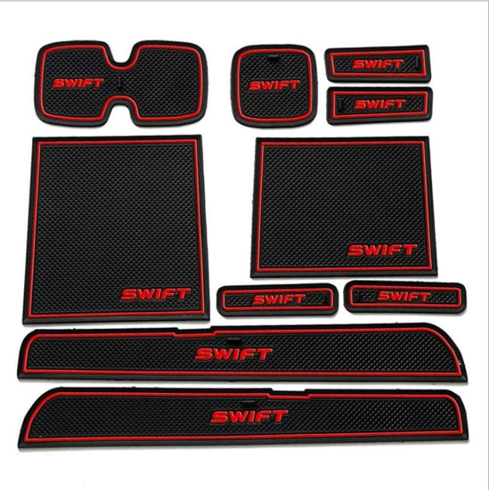 L/&U 10PCS//Set Car Interior Door Slot Pad Car Door Gate Slot Storage Mats for SUZUKI Swift 05-16,BlackandWhiteFluorescence