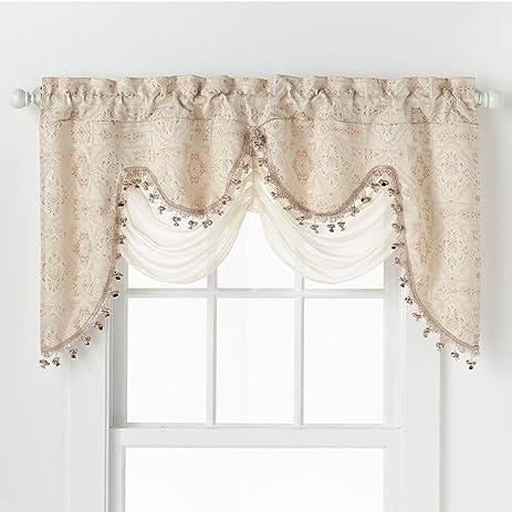 me portofino beige jacquard curtain valances by